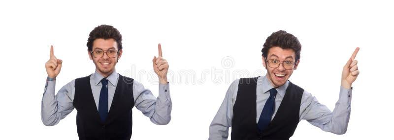 Молодой бизнесмен в смешной концепции на белизне стоковые изображения rf
