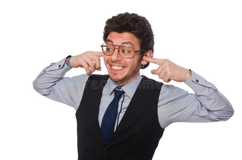 Молодой бизнесмен в смешной концепции на белизне стоковое фото rf