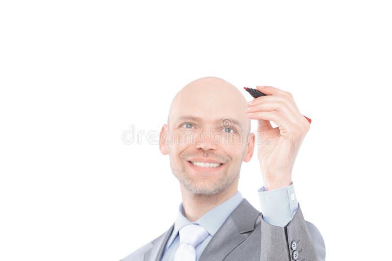Молодой бизнесмен делает показатель Изолировано над белой предпосылкой стоковое фото rf