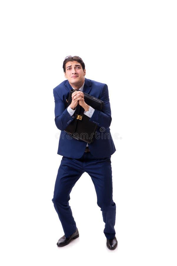 Молодой бизнесмен изолированный на белой предпосылке стоковые изображения rf