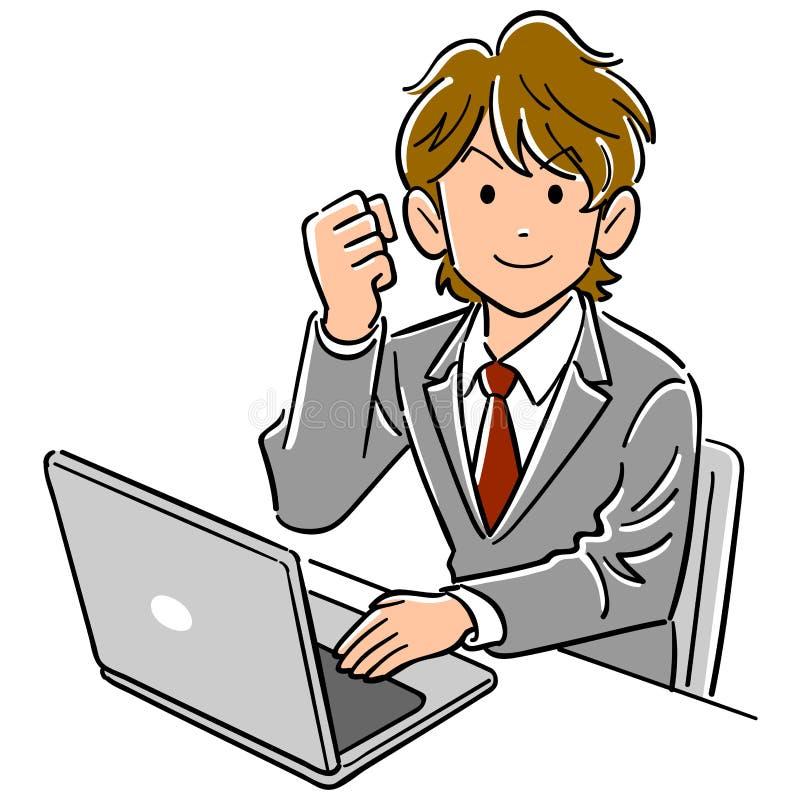 Молодой бизнесмен представляя для того чтобы привестись в действие персональный компьютер иллюстрация вектора