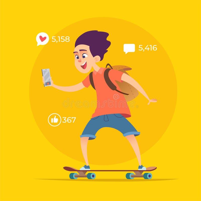 Молодой блоггер мальчика едет на скейтборде и снимает видео или потоки онлайн иллюстрация вектора