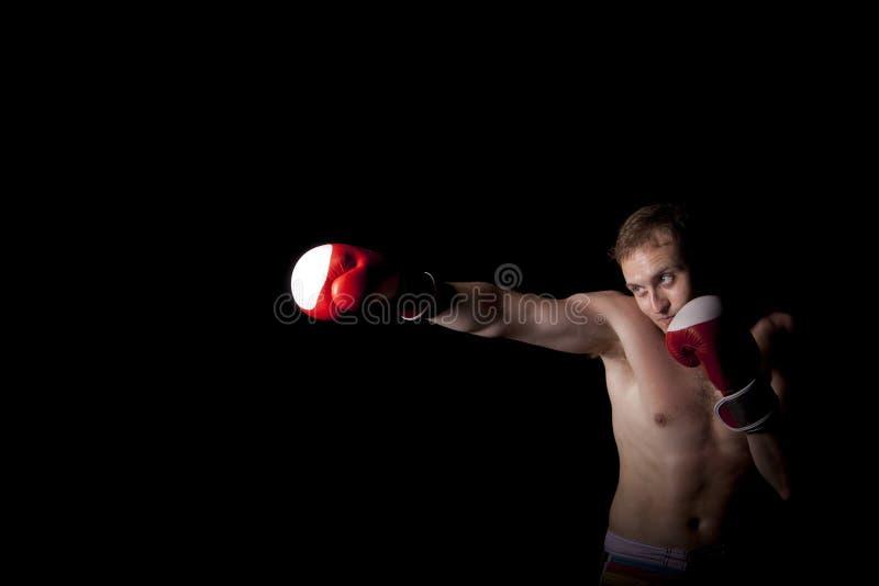Молодой боксер над черной предпосылкой стоковые изображения