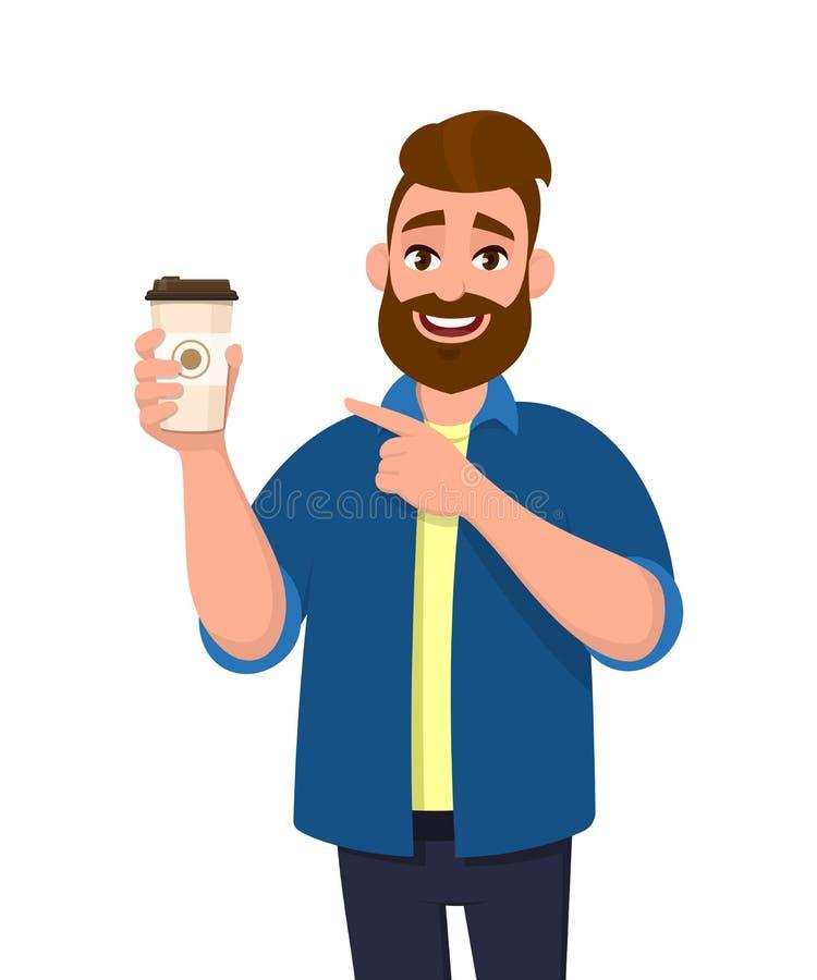 Молодой бородатый ультрамодный человек держа кофейную чашку и показ или указывая указательный палец Иллюстрация дизайна мужского  бесплатная иллюстрация