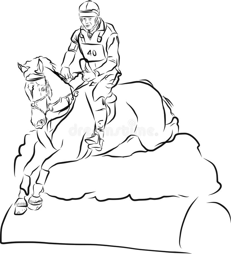 Молодой всадник выполняя скачку на лошади залива над барьером на скакать выставки иллюстрация вектора