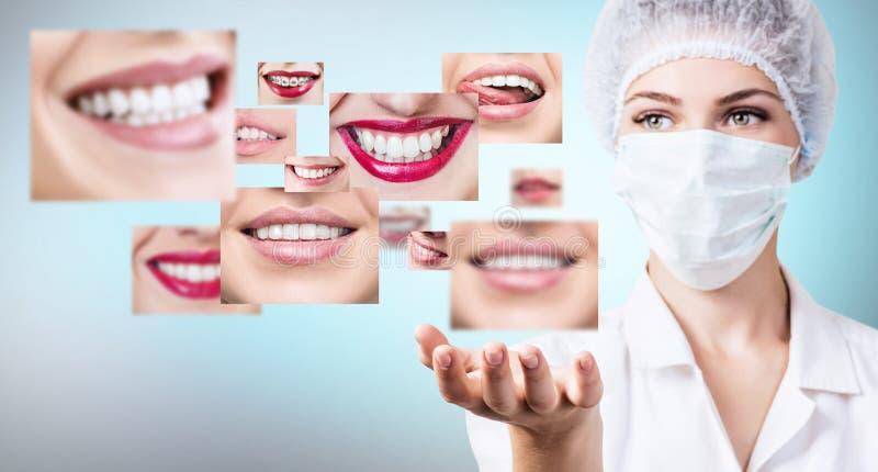 Молодой доктор дантиста около коллажа здоровых красивых улыбок стоковые изображения