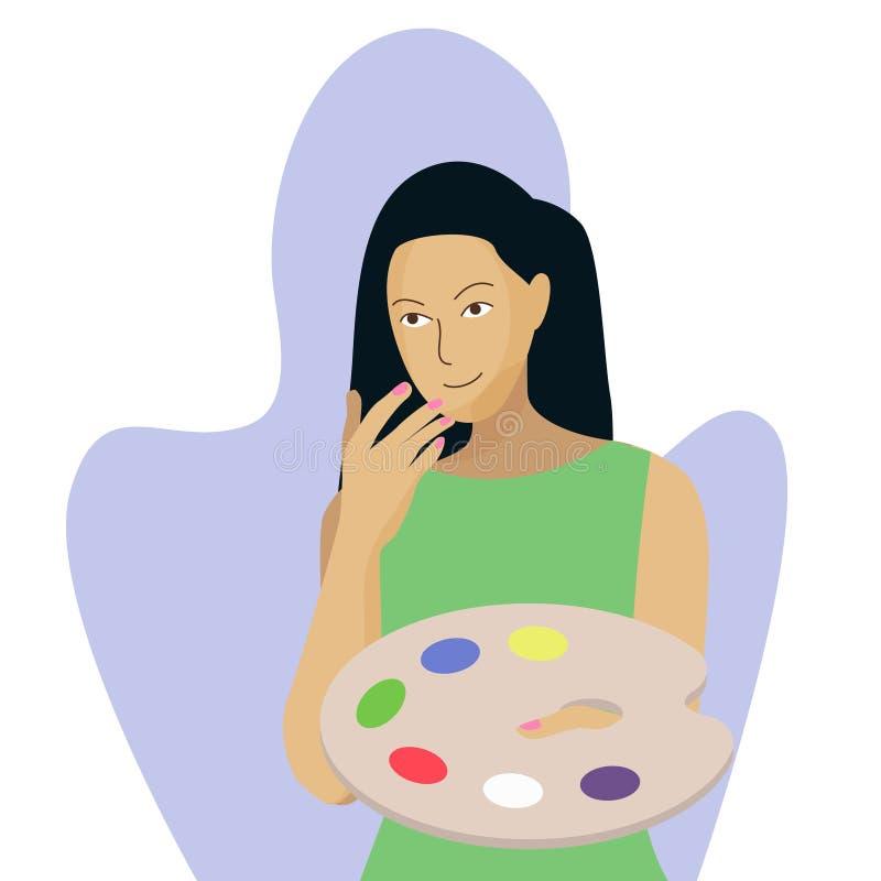 Молодой женский кавказский художник держа палитру иллюстрация штока