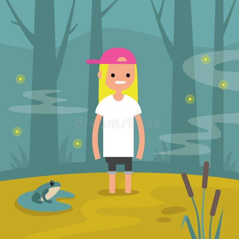 Молодой женский характер вставил в болоте/плоско editable векторе иллюстрация вектора