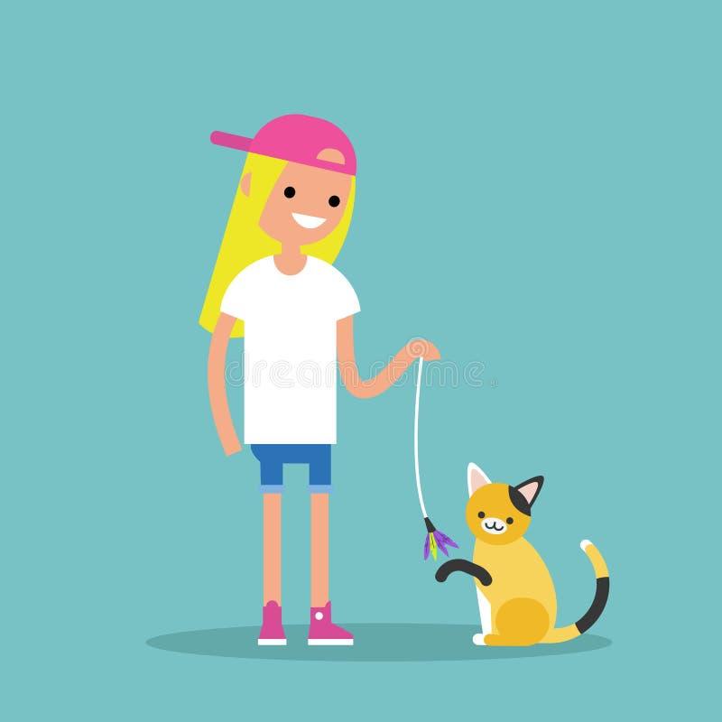 Молодой женский характер играя с котом/плоско editable вектором иллюстрация вектора