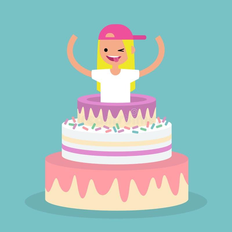 Молодой женский характер скача из торта/плоско editable vec иллюстрация штока