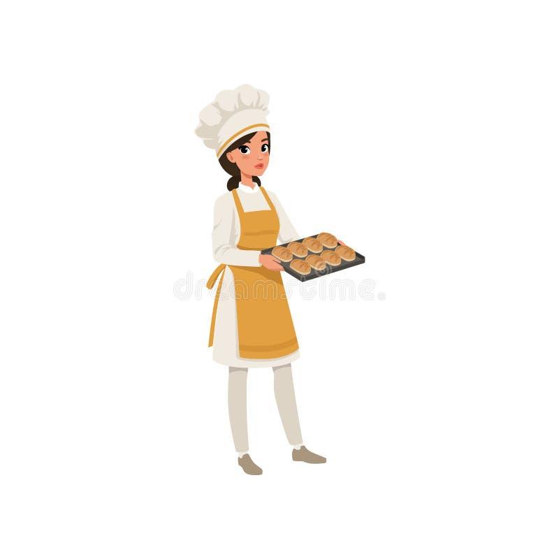 Молодой женский характер хлебопека в форме держа поднос с свеже испеченной иллюстрацией вектора хлеба на белизне иллюстрация вектора