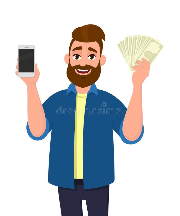 Молодой жизнерадостный показ человека или удержание мобильного, клетки, умного телефона и пука наличных денег, денег, доллара, ва бесплатная иллюстрация