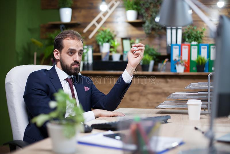 Молодой и элегантный бизнесмен работая крепко в его офисе стоковые фотографии rf