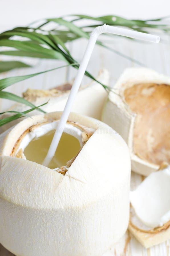 Молодой кокос на белой деревянной предпосылке стоковое изображение