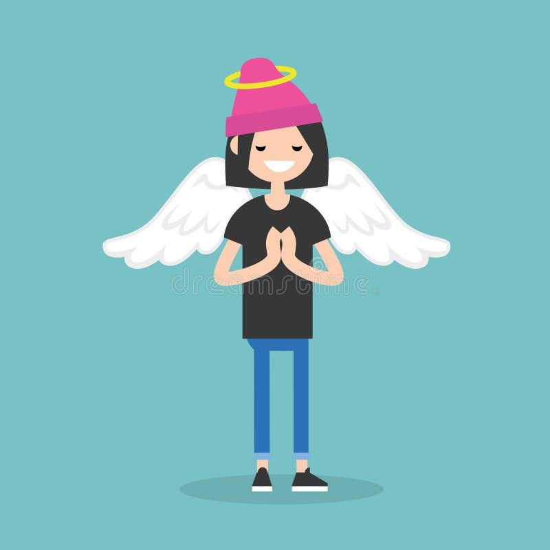 Молодой костюм ангела женского характера нося: nimbus и крыла/ иллюстрация вектора