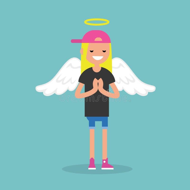 Молодой костюм ангела женского характера нося: nimbus и крыла/ иллюстрация штока