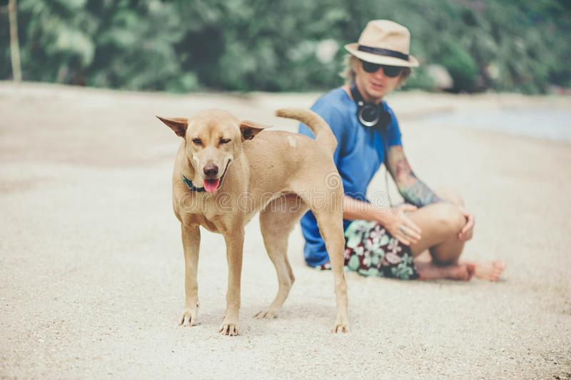 Молодой красивый человек нося голубые футболку, шляпу и солнечные очки, сидя на пляже с собакой в Таиланде стоковое изображение rf