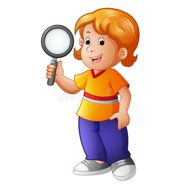 Молодой мальчик держа увеличивая объектив иллюстрация вектора