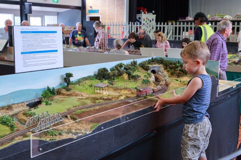 Молодой мальчик наблюдая поезд на модельном железнодорожном шоу стоковые изображения rf