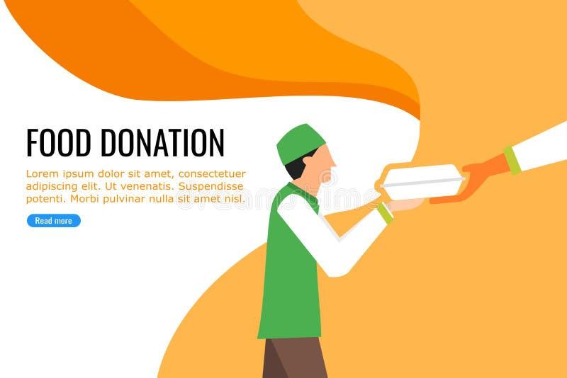 Молодой мальчик получая еду от близрасположенного пожертвования еды бесплатная иллюстрация