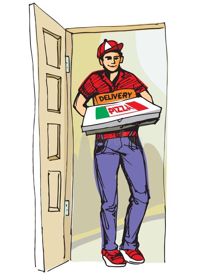 Молодой мальчик поставляя горячую коробку пиццы пицц Поставьте мальчика бесплатная иллюстрация