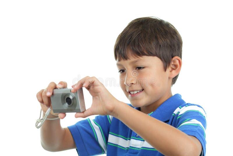 Молодой мальчик с камерой стоковая фотография
