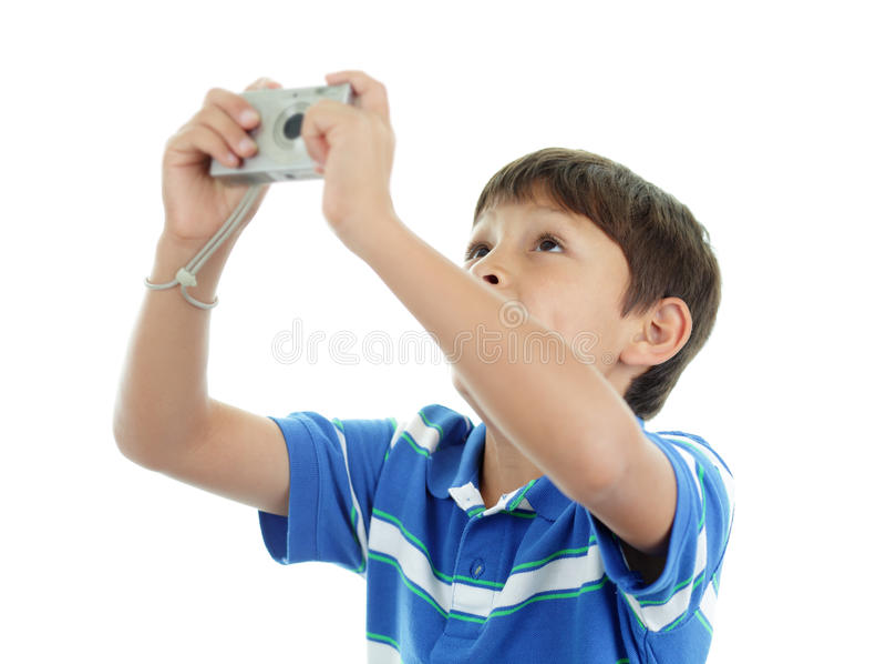 Молодой мальчик с камерой стоковая фотография rf