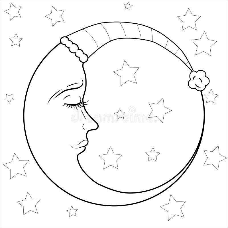 молодой месяц и звезда для анти- страницы расцветки стресса Картина для книжка-раскраски бесплатная иллюстрация
