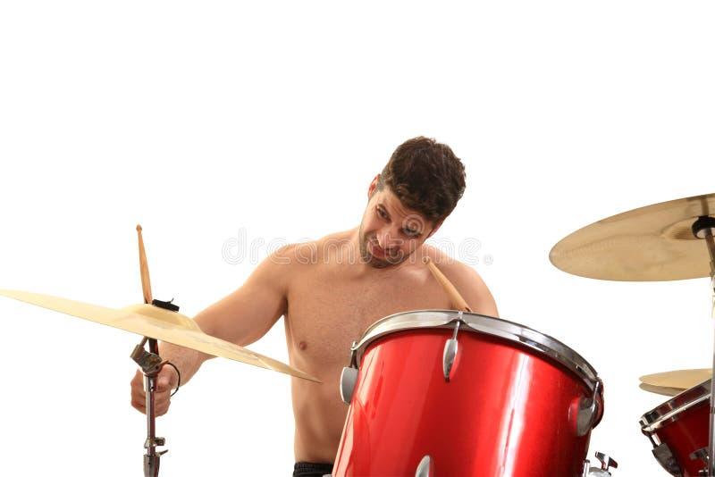 Молодой мыжской барабанщик стоковые изображения