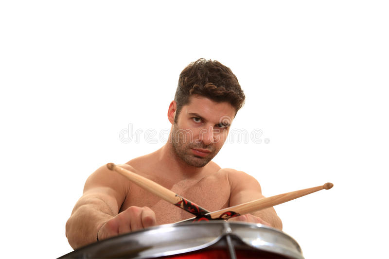 Молодой мыжской барабанщик стоковая фотография