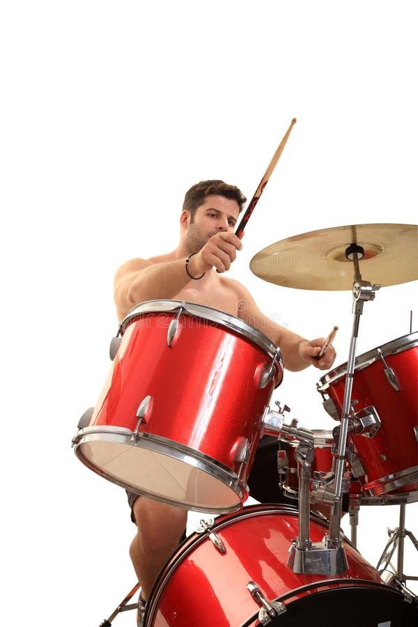 Молодой мыжской барабанщик стоковая фотография rf