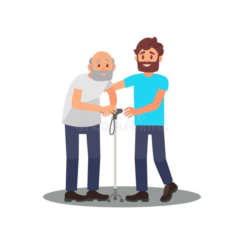 Молодой парень заботя для старшего человека Grandpa с идя ручкой и дружелюбным волонтером Социальный работник Плоский дизайн вект иллюстрация штока