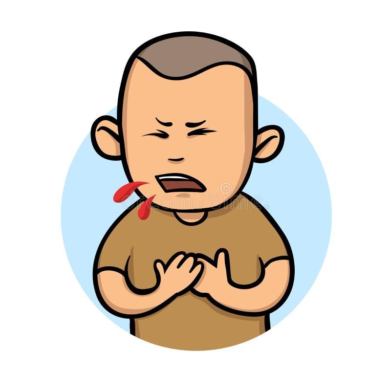 Молодой парень кашляя кровь Плоская иллюстрация вектора белизна изолированная предпосылкой иллюстрация штока