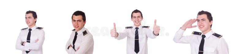 Молодой пилот изолированный на белизне стоковое фото rf