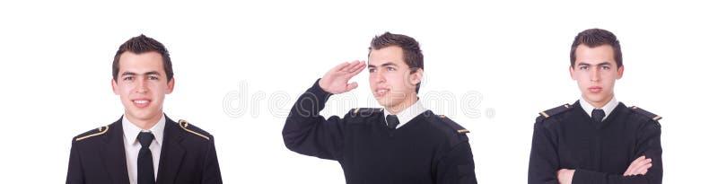 Молодой пилот изолирован от белого стоковое изображение rf