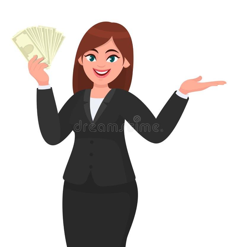 Молодой показ бизнес-леди или наличные деньги удержания, деньги, доллар, примечания валюты в руке и указывать, показывать жестами иллюстрация вектора