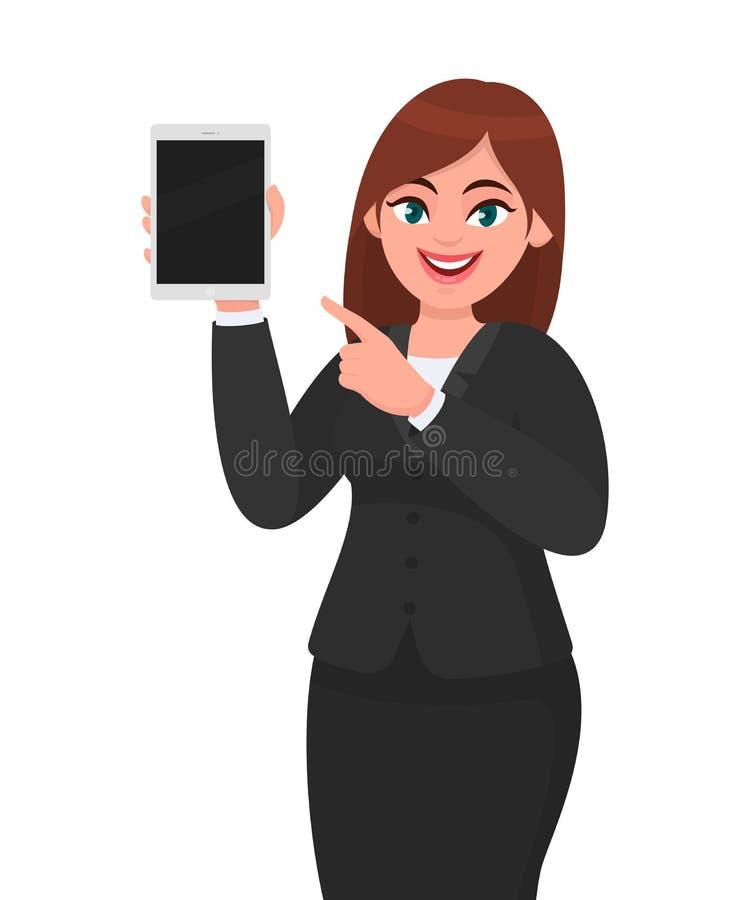 Молодой показ бизнес-леди или удержание планшета пустого экрана цифрового и указывать указательный палец Дизайн женского характер иллюстрация вектора