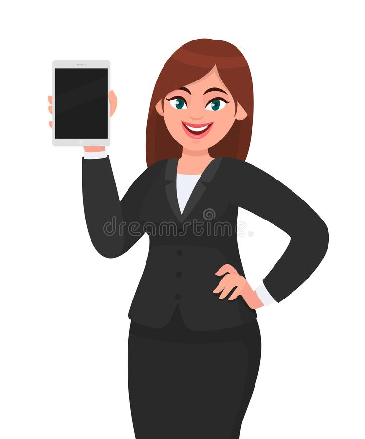 Молодой показ бизнес-леди или удержание планшета пустого экрана цифрового в руке Иллюстрация дизайна женского характера иллюстрация вектора