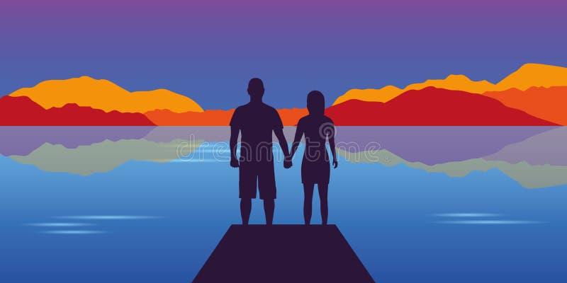 Молодой силуэт пар на красивом ландшафте осени озера и горы иллюстрация вектора