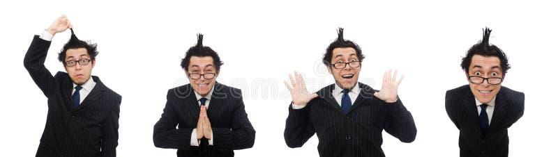 Молодой смешной работник изолирован от белого стоковая фотография rf