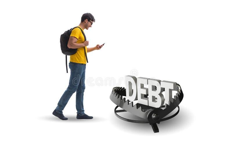 Молодой студент в концепции займа и задолженности иллюстрация штока