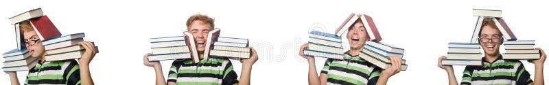 Молодой студент с книгами изолированными на белизне стоковые фотографии rf