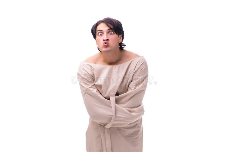 Молодой сумашедший человек изолированный на белизне стоковые фотографии rf