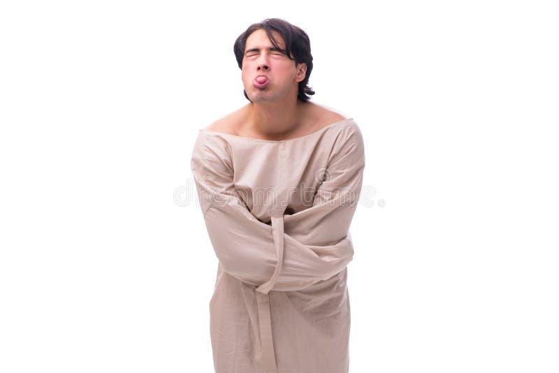 Молодой сумашедший человек изолированный на белизне стоковое изображение