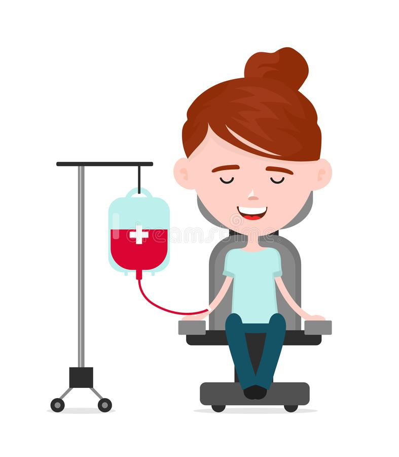Молодой счастливый даритель женщины, персона дарит кровь бесплатная иллюстрация