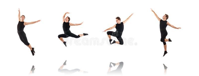 Молодой танцор изолированный на белизне стоковое фото rf