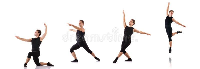 Молодой танцор изолированный на белизне стоковые фотографии rf