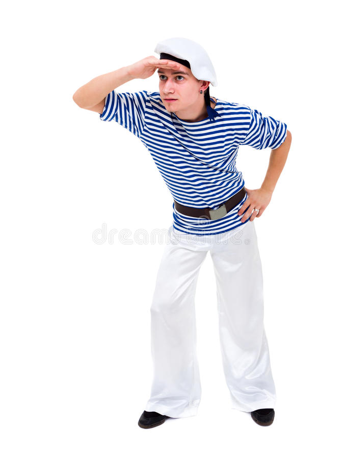 Молодой танцор одетьнный как представлять матроса стоковые изображения rf