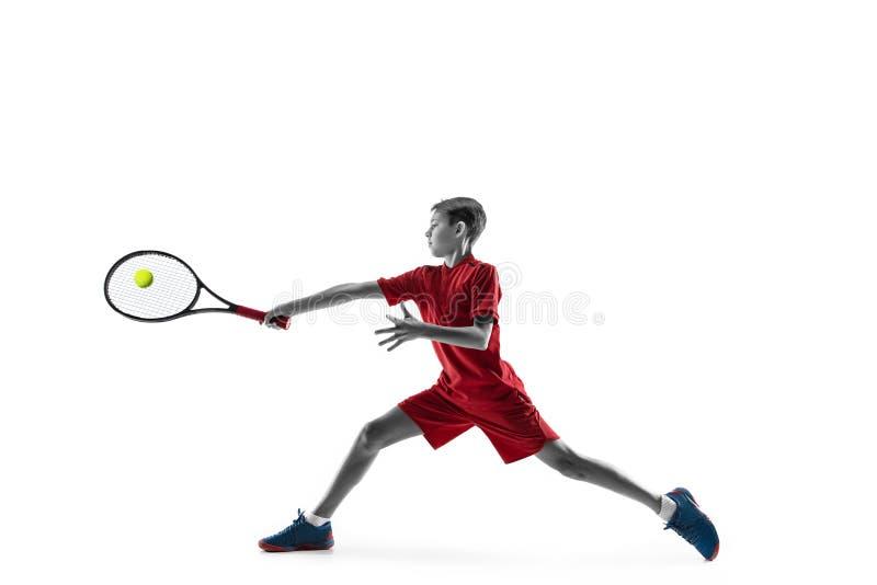 Молодой теннисист изолированный на белизне стоковое фото rf
