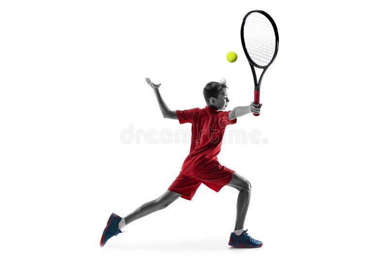 Молодой теннисист изолированный на белизне стоковое изображение rf